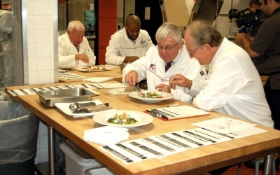 Judges at 2018 San Diego Culinary Bowl scrutinize every aspect of dishes prepared by nearly 30 professional and student culinarians.